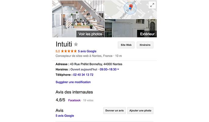 Fiche Google My Business d'Intuiti
