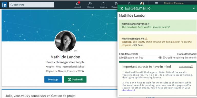 GetEmail.io outil pour constituer une base de données propre