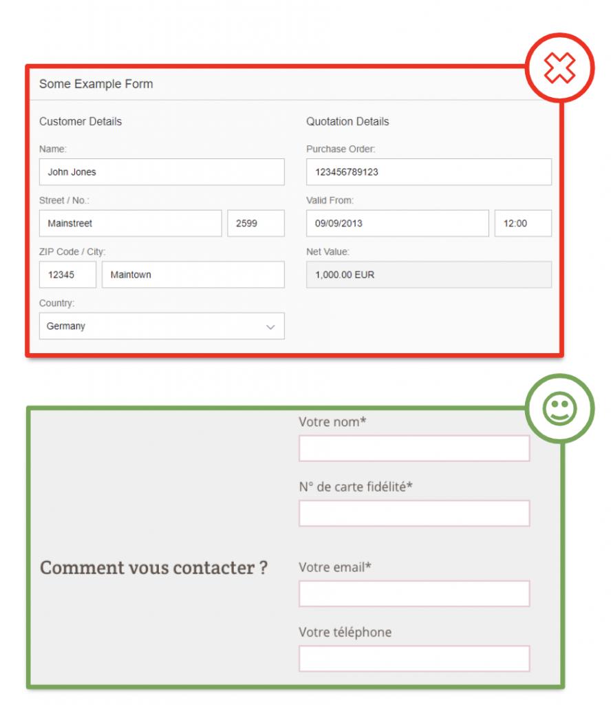 formulaire de contact - conseils ux